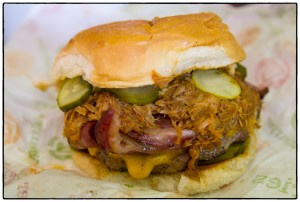 Three Little Pigs: Pulled pork, peameal bacon, Oulton's double smoked bacon, Canadian cheddar cheese, and chipotle mayo. Subbed peameal bacon for more double-smoked bacon, added jalapenos and pickles.